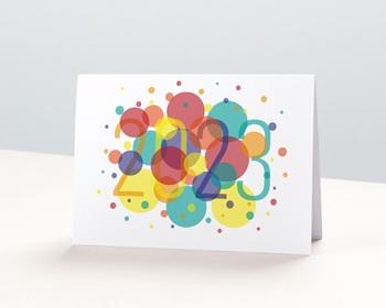 Carte de Voeux Professionnelle 2021 Bulles Festives, Vernis 3D, Ouverture Portefeuille