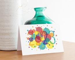 Carte de Voeux Entreprise Bulles Festives, Vernis 3D, Ouverture Portefeuille gratuit