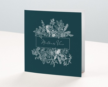 Carte de Voeux Entreprise Couronne Noël, Vert Jardin, Feuillage Blanc personnalisable
