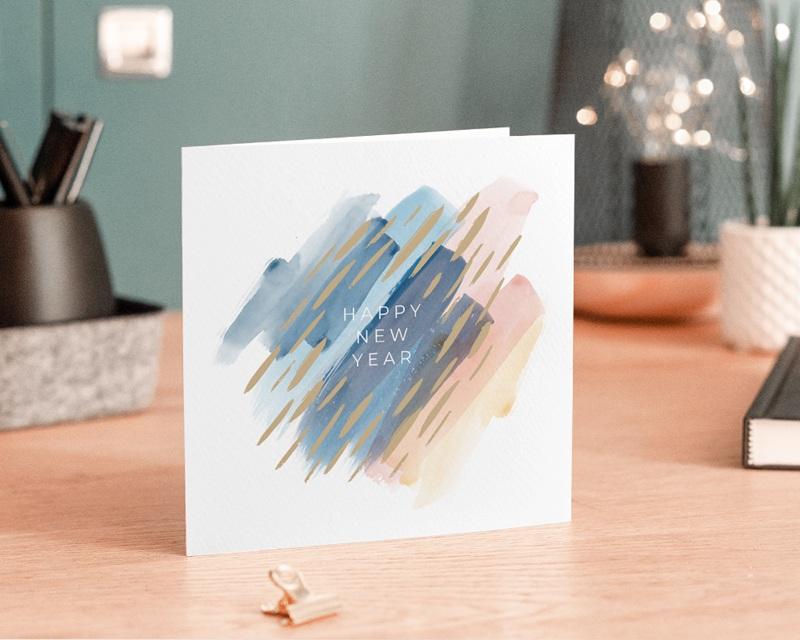 Carte de Voeux Entreprise Frotassé aquarelle, Pigments Dorés gratuit
