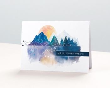 Carte de Voeux Professionnelle Paysage japonisant, Reflets Aquarelle, Ouverture Portefeuille