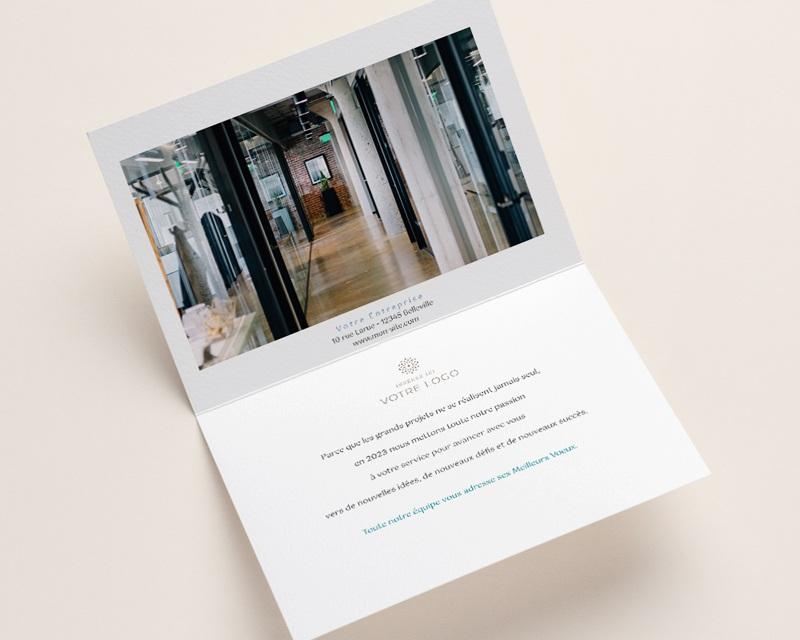 Carte de voeux avec logo d'entreprise Paysage japonisant, Reflets Aquarelle, Ouverture Portefeuille pas cher