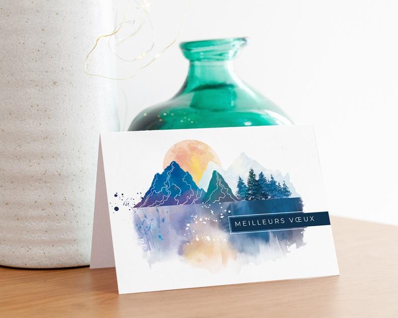 Carte de voeux avec logo d'entreprise Paysage japonisant, Reflets Aquarelle, Ouverture Portefeuille gratuit