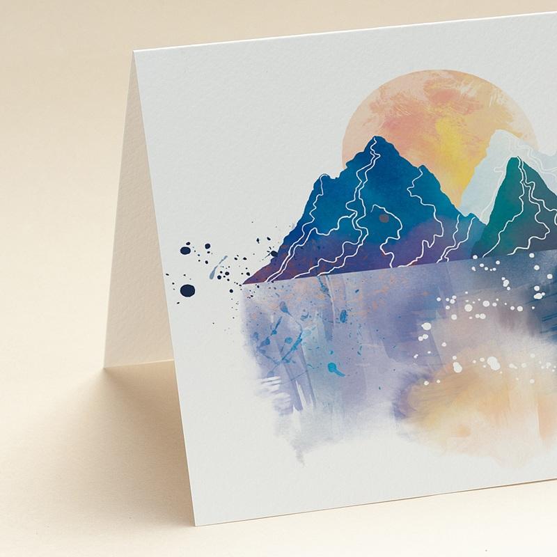Carte de voeux avec logo d'entreprise Paysage japonisant, Reflets Aquarelle, Ouverture Portefeuille