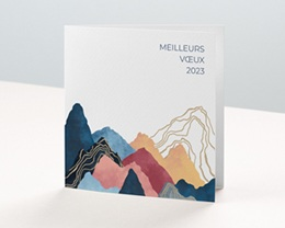 Carte de Voeux Entreprise L'Everest doré, Montagnes colorées