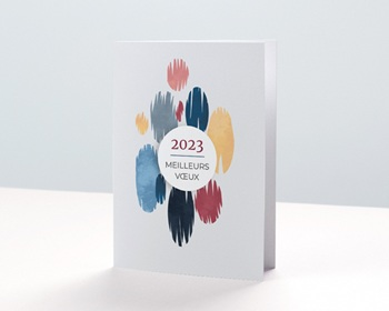 Carte de Voeux Professionnelle 2021 Pictural, Tâches Colorées, Vernis 3D