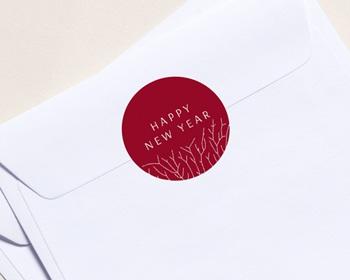Autocollant Enveloppe Entreprise Personnalisé Nature, Arbre de vie, Fond rouge