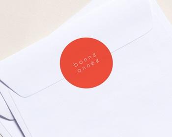 Autocollant Enveloppe entreprise 2022 Personnalisé Bonne Année, Orange, 4, 5 cm