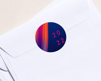 Autocollant Enveloppe entreprise 2022 Personnalisé Ruban multicolore, 4,5 cm