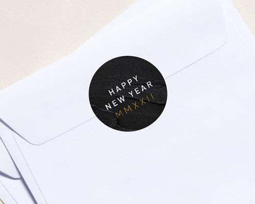 Autocollant Enveloppe Entreprise Personnalisé Marbre noir, 4,5 cm