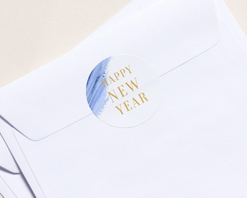 Autocollant Enveloppe entreprise 2022 Personnalisé Peinture, Bleu, 4,5 cm