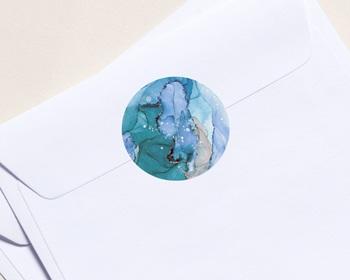 Autocollant Enveloppe Entreprise Personnalisé Aquarelle, Glacier, 4,5 cm