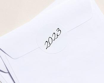 Autocollant Enveloppe entreprise 2022 Personnalisé Chiffres Calligraphiés, Sticker