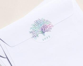 Autocollant Enveloppe Entreprise Personnalisé Arbre de Vie Solidaire, Sticker