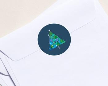 Autocollant Enveloppe Entreprise Personnalisé Noël, Sapin géométrique