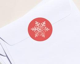 Autocollant Enveloppe Entreprise Personnalisé Flocon Blanc, Fond Corail