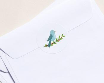 Autocollant Enveloppe entreprise 2022 Personnalisé Oiseau de Noel, Houx