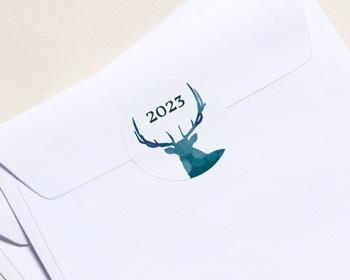 Autocollant Enveloppe entreprise 2022 Personnalisé Cerf de Noël, Bleu