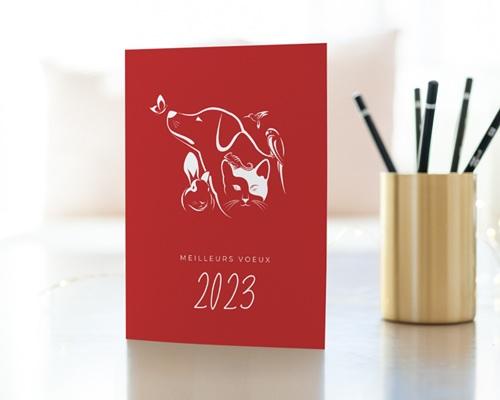 Carte de Voeux Entreprise Animalerie, Animaux NAC, Fond rouge gratuit