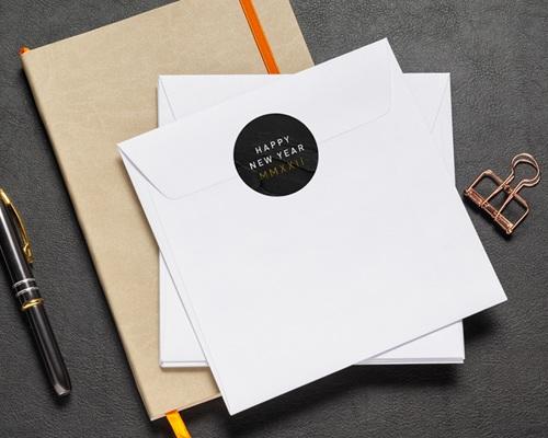 Autocollant Enveloppe Entreprise Personnalisé Marbre noir, 4,5 cm pas cher
