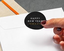 Autocollant Enveloppe Entreprise Personnalisé Marbre noir, 4,5 cm gratuit