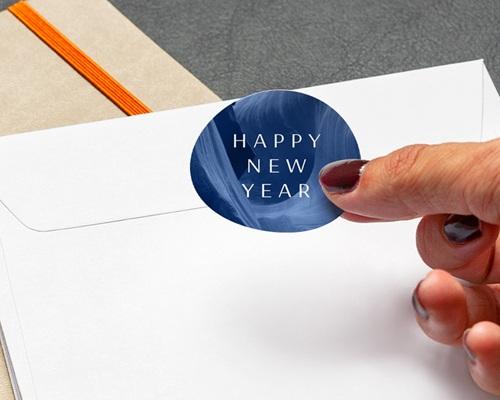 Autocollant Enveloppe Entreprise Personnalisé Canyon Bleu graphique, 4,5 cm gratuit