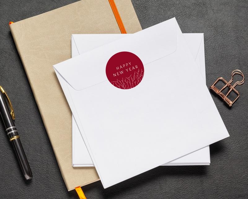 Autocollant Enveloppe Entreprise Personnalisé Nature, Arbre de vie, Fond rouge pas cher