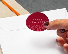 Autocollant Enveloppe Entreprise Personnalisé Nature, Arbre de vie, Fond rouge gratuit