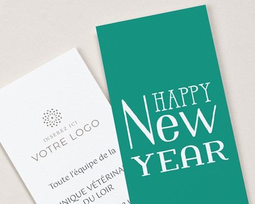 Carte de Voeux Entreprise Signet New Year, Chien Drôle et bois de renne gratuit