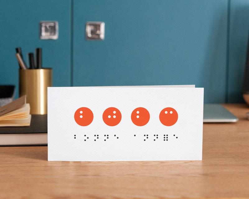 Carte de Voeux Entreprise Année en braille, Vision, Orange gratuit