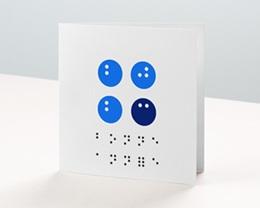 Carte de Voeux Entreprise Solidaire Année en Braille, Vision, Optique, bleu