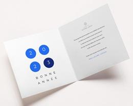 Carte de Voeux Entreprise Solidaire Année en Braille, Vision, Optique, bleu pas cher