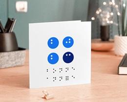 Carte de Voeux Entreprise Solidaire Année en Braille, Vision, Optique, bleu gratuit