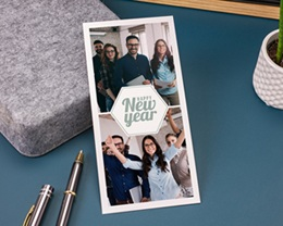 Carte de Voeux Entreprise Hexagone, 2 photos, vernis gratuit