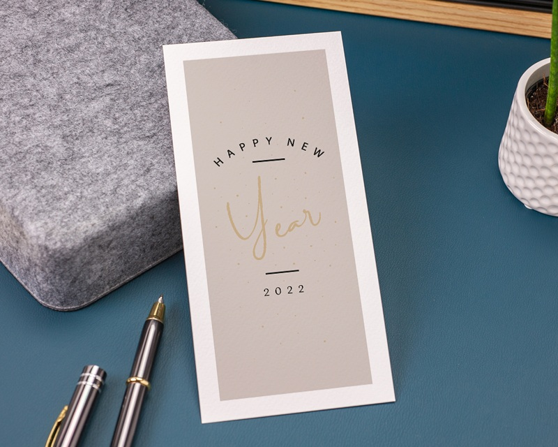Carte de Voeux Entreprise Happy New Year Doré gratuit
