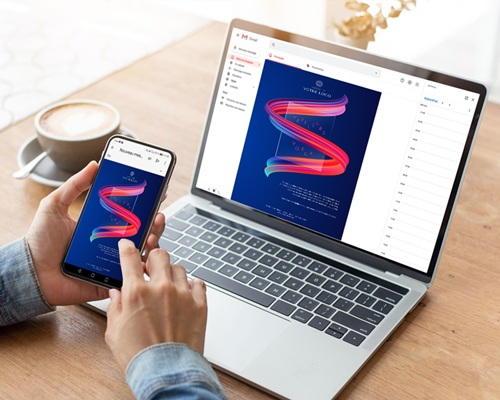 Carte Virtuelle Image Ecard, Ruban multicolore, Fond Bleu gratuit