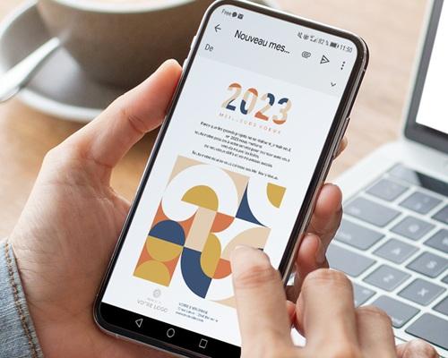 Carte Virtuelle Image Ecard, Rétro Bauhaus, Orange et Bleu