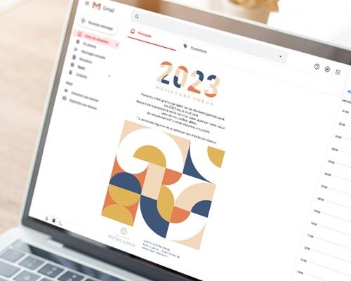 Carte Virtuelle Image Ecard, Rétro Bauhaus, Orange et Bleu pas cher