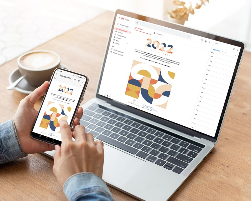 Carte Virtuelle Image Ecard, Rétro Bauhaus, Orange et Bleu gratuit