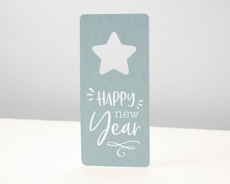 Carte de Voeux Entreprise Noel Découpe étoile de Noël, Bleu Polaire