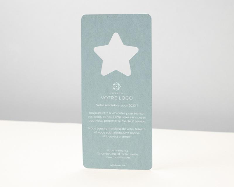 Carte de Voeux Entreprise Noel Découpe étoile de Noël, Bleu Polaire pas cher