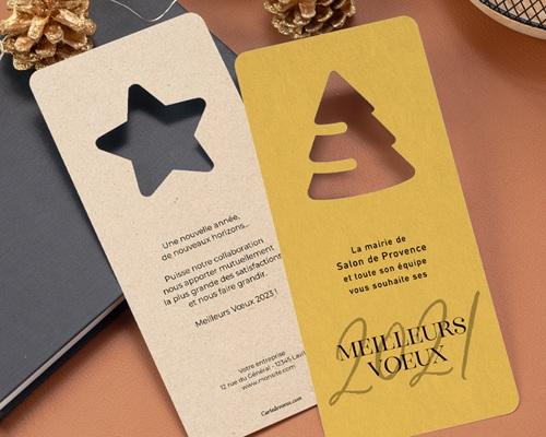 Carte de Voeux Entreprise Noel Découpe étoile, Fond Nature gratuit