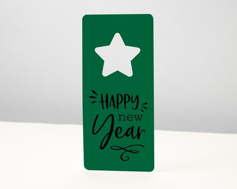 Carte de Voeux Entreprise Noel Découpe Etoile de Noël, Vert Jardin