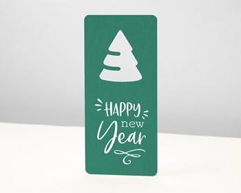 Carte de Voeux Entreprise - Découpe Sapin de Noël, Fond Vert - 0