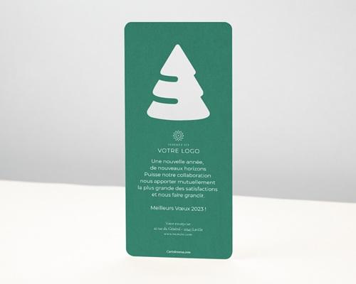 Carte de Voeux Entreprise Découpe Sapin de Noël, Fond Bleu pas cher