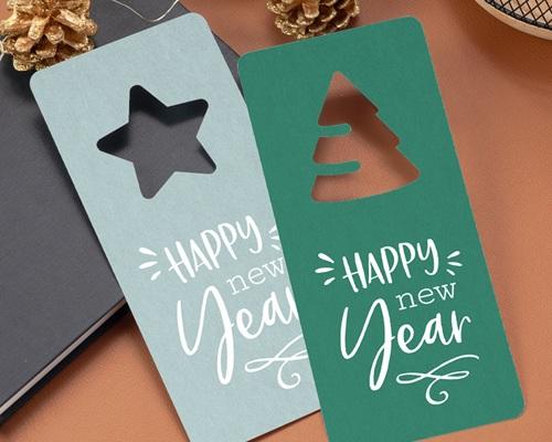 Carte de Voeux Entreprise Découpe Sapin de Noël, Fond Bleu gratuit