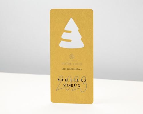 Carte de Voeux Entreprise Originale Découpe Sapin de Noël, Jaune Ambré