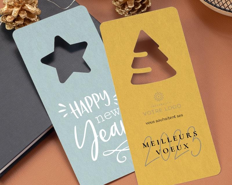 Carte de Voeux Entreprise Originale Découpe Sapin de Noël, Jaune Ambré gratuit