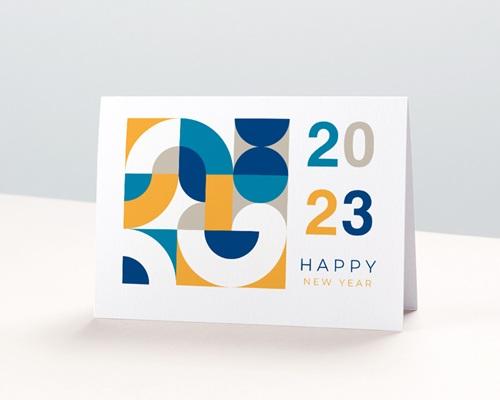 Carte de Voeux Entreprise 2 en 1, Calendrier, Bauhaus Jaune & Bleu