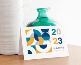 Carte de Voeux Entreprise 2 en 1, Calendrier, Bauhaus Jaune & Bleu gratuit
